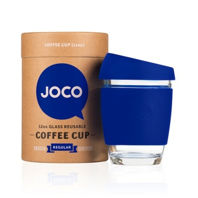 JOCO Cup Reusable Glass Coffee Cup 12oz - Colbolt Blue